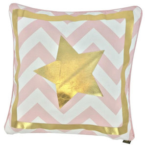 Superstar Metallic Cushion Cover, Gold and Pink Stripes