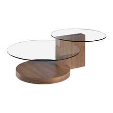 Duo Walnut Wood and Glass Coffee Table - Spare Part