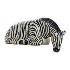 Zebra Shelf Sitter Statue Safari Animals African Stone Sculpture