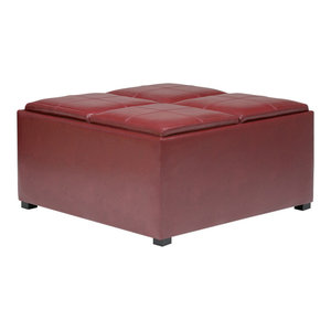 Awesome Four Hands Isle Leather Ottoman Brandy Industrial Andrewgaddart Wooden Chair Designs For Living Room Andrewgaddartcom