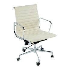 Adjustable Swivel Office Chair With Italian Leather Seat, Off-White