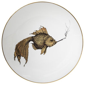 Smoky Gold Fish Plate, Small
