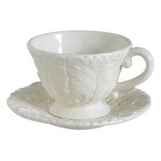 Cream Ceramic Cup Saucers, Set of 4 Sets