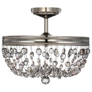 3-Light Semi-Flush Ceiling Light, a Polished Nickel Finish