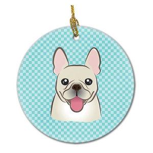 Checkerboard Blue French Bulldog Ceramic Ornament