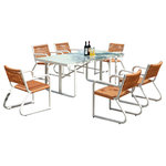 Babmar - Haiti Modern Outdoor Dining Set For 6 With Glass Top - Featuring a rectangular table with six matching side chairs, this set lets you enjoy cozy family gatherings with ease, while its all-weather wicker design and multiple finishes add an earthy twist to the piece.