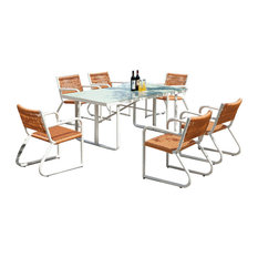 Haiti Modern Outdoor Dining Set For 6 With Glass Top