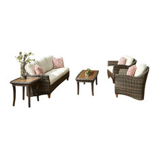 Klaussner 6-Piece Outdoor Sycamore Brown Wicker Set With ClimaPlush Cushions