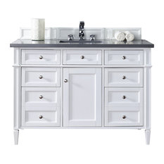 "Brittany 48"" Cottage White Single Vanity, Shadow Gray Quartz Top"