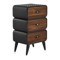Wood and Metal Bedside Table With 3 Drawers
