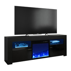 Milano 145EF Electric Fireplace 58-inch TV Stand Black