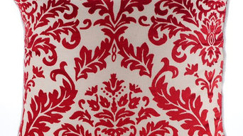 Cayenne Red Damask - Cayenne Red Burnout Velvet Throw Pillow Cover
