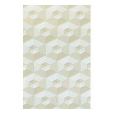 3D illusion tan beige off white geometric hexagon Wallpaper , 21 Inc X 33 Ft Rol