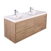 "MOM 48"" Wall Mounted Vanity with 4 Drawers and Acrylic Double Sink, Teak Oak"