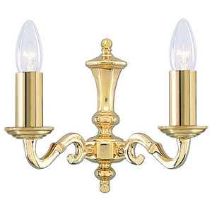 Seville 2-Arm Polished Cast Brass Wall Light