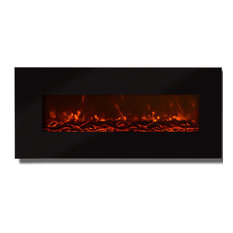 """Valencia 50"""" Black Ventless Heater Electric Wall Mounted Fireplace, Log"""