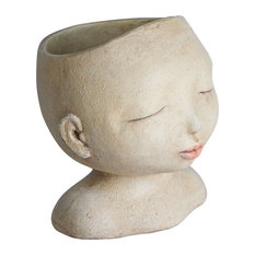 TEAMMANN CO LTD - Head of a Lady Indoor/Outdoor Resin Planter - Outdoor Pots and Planters