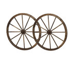 "36"" Wooden Wagon Wheels, Steel-Rimmed Wooden Wagon Wheels, Set of 2"