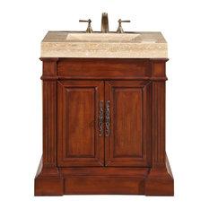 "32.5"" Modern Single Sink Bathroom Vanity, TravertineDistressed Finish"