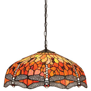 Dragonfly Large 3-Light Pendant, 60 W, Flame