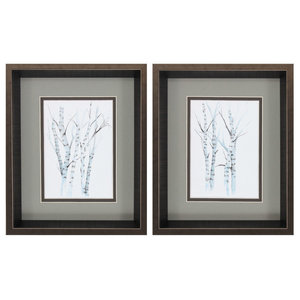 Aquarelle Birches, Set of 2