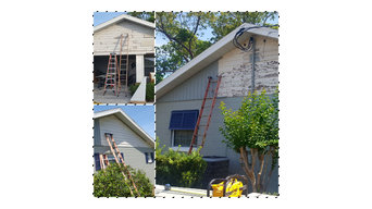 Demo and remodel new columns and siding