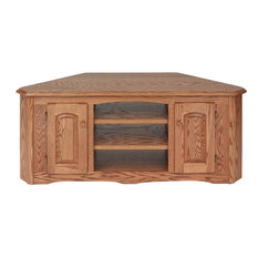 The Oak Furniture Shop   Solid Wood Oak Country Corner TV Stand With  Cabinet, Golden