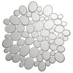 ZUO - Boss Mirror - Modern style Boss mirror features small pebble mosaic-Pieces set in small silver frame arrange in round pattern. Perfect for living or dining room, entry or hallway applications. Each mirror features brackets for hanging vertically or horizontally.