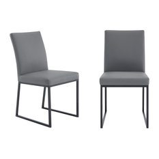 Mira Dining Chair, Gray Faux Leather, Set of 2, Matte Black
