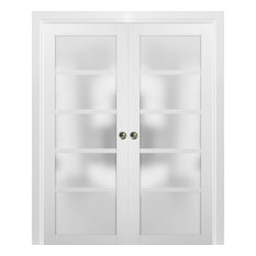 French Double Pocket Doors 36 x 84 & Frames | Quadro 4002 White Silk