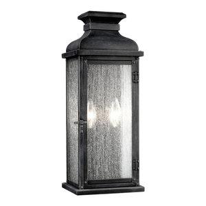 Pediment Outdoor Sconce - Dark Weathered Zinc, Medium, 2