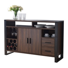 161640 Smart Home Dark Walnut & Black Wine Bar Sideboard Buffet Table