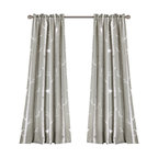 Bird on the Tree Room Darkening Window Curtain Set, Gray