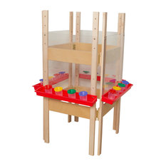 4-Sided Adjustable Easel With Acrylic, Red Tray