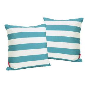 GDF Studio La Mesa Indoor Striped Square Throw Pillow, Dark Teal, Set of 2