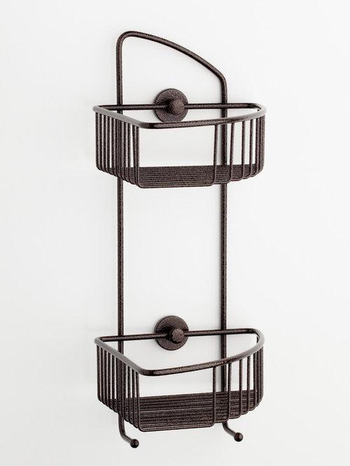 No Drilling Required Corner Shower Caddy   Bronze   Rustproof   Shower  Caddies