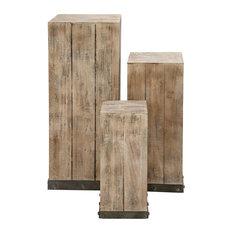 Wood Pedestal, 3-Piece Set
