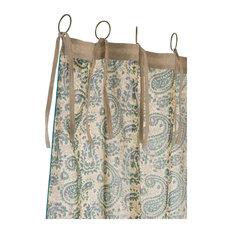 India Indigo Paisley Linen Curtain