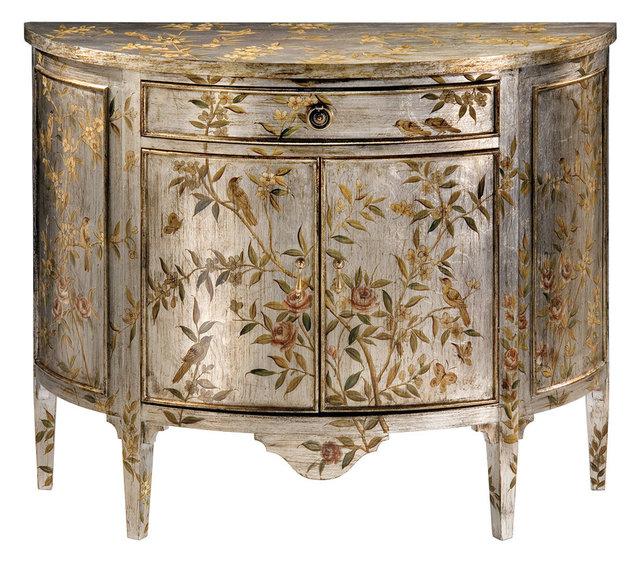 Wonderful Hand Painted Demilune Cabinet