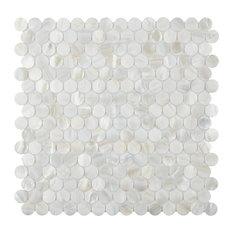 """SomerTile 11.5""""x11.625"""" Seashell Mini Penny Seashell Mosaic Wall Tile, White"""