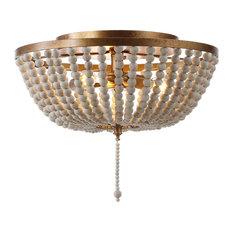 "Allison Wood Beaded LED Flush Mount, Antique Gold, Cream, 15"""