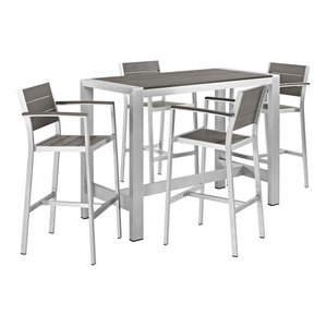 Modway Shore 5 Piece Outdoor Patio Aluminum Dining Set, Silver Gray