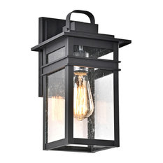 CHLOE Lighting Brian Transitional 1-Light Textured Black Outdoor Wall Sconce