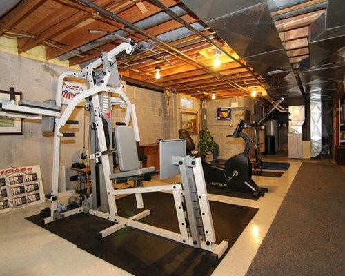 Home gym design ideas renovations photos with concrete