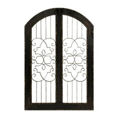 48 in. Iron and Wood Gate in Black