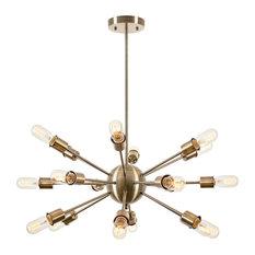 Light Society   Sputnik 18 Light Chandelier, Brass   Chandeliers