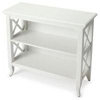 Newport Glossy Low Rectangular Bookcase, White