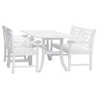 Bradley Outdoor 4-Piece Wood Patio Curvy Legs Table Dining Set