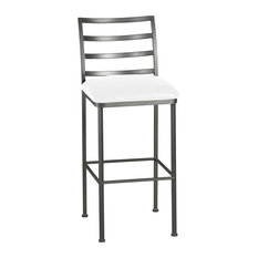 Leon Bar Height Barstool Aspen Pure White Bonded Leather/Pewter 30-inch