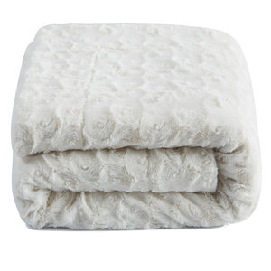 Roses Fur Sherpa Fleece Blanket, White Petal, 63x87